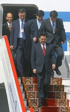 President of the People's Republic of China Hu Jintao arriving in St. Petersburg for the G8 summit.