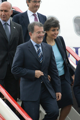 Italian Prime Minister Romano Prodi arriving in St. Petersburg Pulkovo airport for the G8 Summit