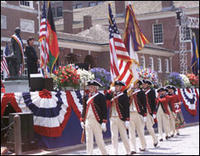 Members of the Old Guard Colonial Color Guard and Fife and Drum team march the colors off at the 'Let Freedom Ring' event held in Philadelphia on July 4, 2004. (photo armu.mil by Jackie Garrelts)