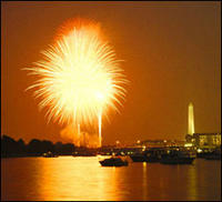 Fourth of July fireworks light up the skyline of the nation's capital a few years ago as viewed from the vicinity of Fort McNair, D.C. (photo Army News Service, Army.mil)