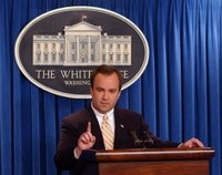 Press Secretary Scott McClellan responds to a question during his White House press briefing. White House photo by Tina Hager