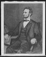 Abraham Lincoln, seated in chair, Library of Congress, Prints and Photographs Division [reproduction number, LC-D416-31]