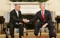 President George W. Bush welcomes Pakistan Prime Minister Shaukat Aziz to the Oval Office, Tuesday, Jan. 24, 2006. White House photo by Kimberlee Hewitt.