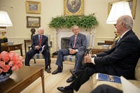 President George W. Bush meets with former President Jimmy Carter and Secretary of State James Baker, Co-Chairs of the Carter-Baker Commission on Federal Election Reform, in the Oval Office Monday, Sept. 19, 2005. White House photo by Eric Draper
