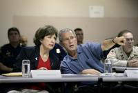President George W. Bush and Louisiana Governor Kathleen Blanco participate in a briefing on Hurricane Rita at the FEMA Joint Field Office in Baton Rouge, Louisiana, Sunday, Sept. 25, 2005. White House photo by Eric Draper