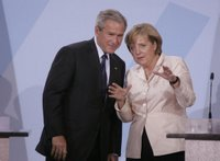 President George W. Bush and Chancellor Angela Merkel hold a joint press conference in Stralsund, Germany, Thursday, July 13, 2006. White House photo by Paul Morse.