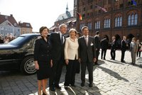 President George W. Bush and Laura Bush participate in an arrival ceremony with German Chancellor Angela Merkel and her husband Joachim Sauer in Stralsund, Germany, Thursday, July 13, 2006. White House photo by Paul Morse.