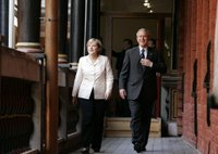 Chancellor Angela Merkel and President George W. Bush walk to their meeting after the arrival ceremony in Stralsund, Germany, Thursday, July 13, 2006. White House photo by Paul Morse.