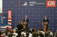 President George W. Bush and President Vladimir Putin of Russia, answer questions from reporters during a joint press availability at the International Media Center at the Konstantinovsky Palace Complex in Strelna, Russia, site of the 2006 G8 Summit. White House photo by Paul Morse.