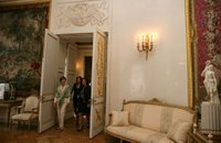 Mrs. Laura Bush and Mrs. Lyudmila Putina tour the Pavlovsk Palace in St. Petersburg, Russia, Saturday, July 15, 2006. White House photo by Shealah Craighead.