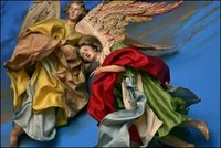 Angels soar over the crèche in the East Room, White House photo by Susan Sterner