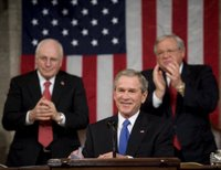 President George W. Bush reacts to applause during his State of the Union Address at the Capitol, Tuesday, Jan. 31, 2006. White House photo by Eric Draper.