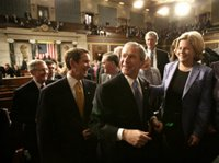 President George W. Bush greets members of Congress after his State of the Union Address at the Capitol, Tuesday, Jan. 31, 2006. White House photo by Eric Draper.