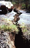 Photograph by Peter Lipman, US Geological Survey, Crack in Hilina Pali road, Hawaii Volcanoes National Park.