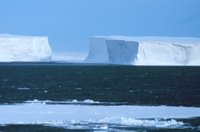 Large tabular icebergs grounded in the Ross Sea. Image ID: corp 2404, NOAA Corps CollectionPhoto Date: 1998 December Photographer: Michael Van Woert, NOAA NESDIS, ORA,