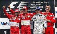Formula One German Grand Prix, Felipe Massa, Michael Schumacher, Kimi Raikkonen and Paulo Martinelli on the podium
