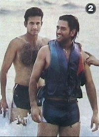 Mahendra Singh Dhoni and Irfan Pathan shirtless in a swimsuit in Goa