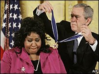 Aretha Franklin and Mohammed Ali received important awards from George Bush yesterday at the White House.