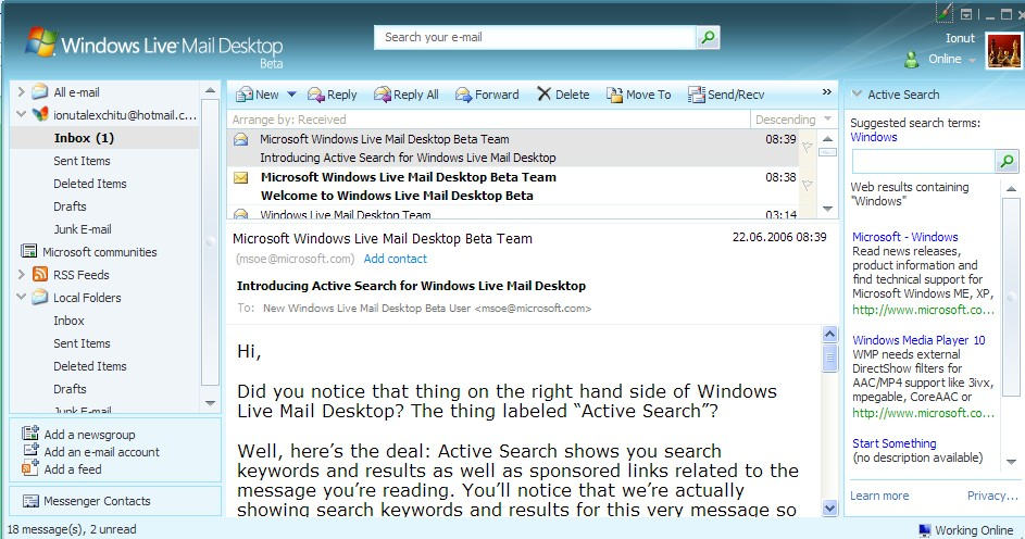 windows live mail deskopt: