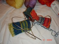 two socks one circ one heel turned