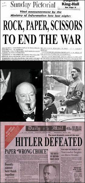 two news paper headlines and photos showing Hitler playing paper and Churchill playing scissors in a game of 'rock paper scissors'