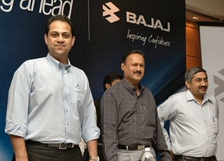 Sanjiv Bajaj and K Grihapathy at the results announcement