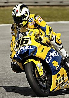 Rossi sets up a corner on his Yamaha M1 motorcycle