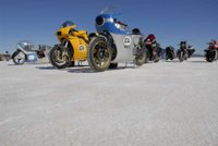 Bikes lined up on the salt flat