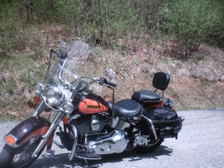 Softail Harley with Saddlebags.