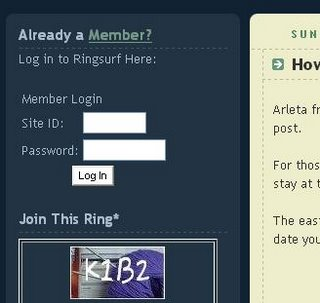 Screenshot of Ringsurf Login, in the left sidebar on K1B2 site.