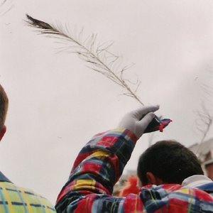 Carnaval de Malmédy. Le chapeau du long ramon est aussi petit que son ramon est grand.