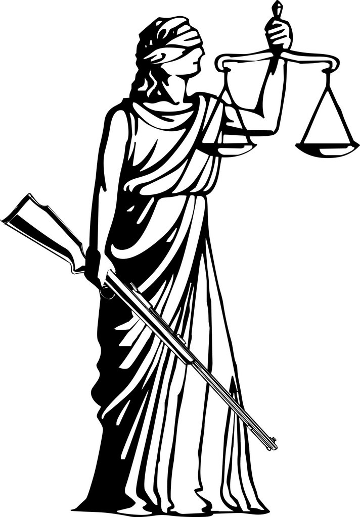 Blind Lady Justice Images Justice holding a rifle