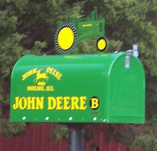 Bright green John Deere mailbox