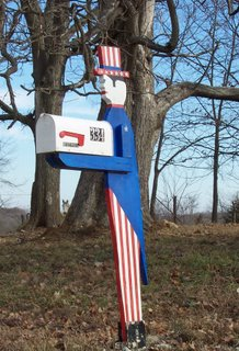 Uncle Same Mailbox Post with a pet watching from behind the tree