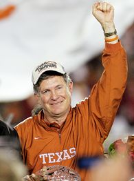 Mark Brown celebrates Longhorn victory