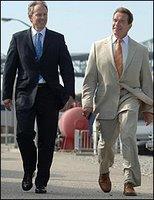 Arnie tells Blair his I'll be back joke