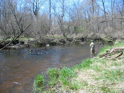 Secret Creek steelhead fishing - broken-off steelhead bend