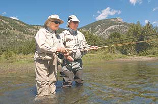 Judge Sandra Day O'Connor on the Boulder River in Montana