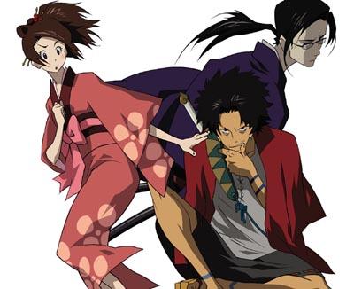Los protagonistas de Samurai Champloo, una serie que mezcla como ninguna escenas de lucha entre samuráis con la mejor música hip-hop