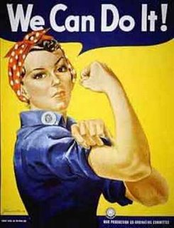 Her name is Rosie the Riveter, and this is a WWII propaganda poster - but what for specifically and where?