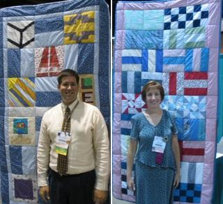Photograph: Marcus Hochstetler (left) and Kathy Coon with their quilts.