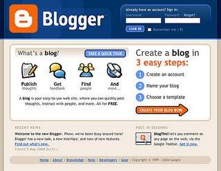 La pantalla de Blogger antes de crear un blog