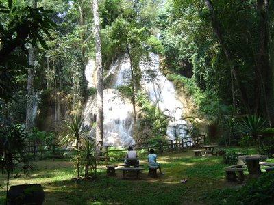 Tam and Nuy in front of Huay Rong waterfall in Phrae province