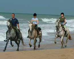Linda and I get a riding lesson on the beach