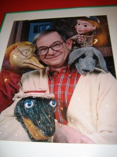 Mr Dressup with Casey and Finnegan and the other, less important puppets