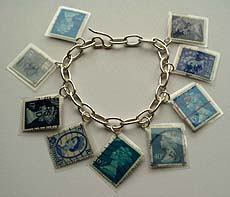 Blue laminated stamps bracelet (C) Emma Farnworth