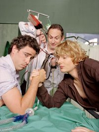 Stephen Mangan, Karl Theobald, and Julian Rhind-Tutt in Green Wing. Photo via www.gelfmagazine.com, courtesy Channel 4 International