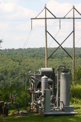 Oil and Gas Company equipment near Tionesa old-growth forest in Allegheny NF