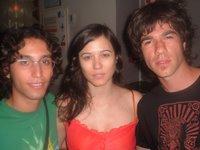La actriz Eva Pallarés junto a Genis (el pinça) y Jaume