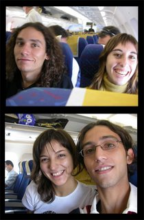 Up: Emilio and Ana. Down: Mila and me in the plane